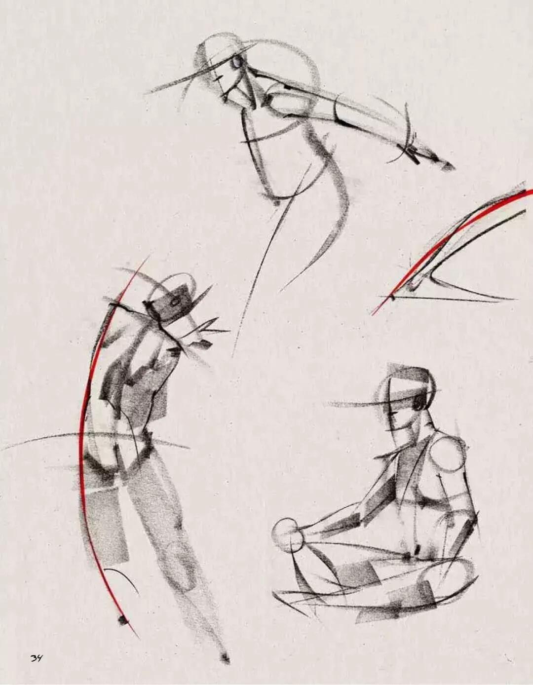 """美术校考高分技巧:人物速写,最关键的一点""""动态线""""!图四"""