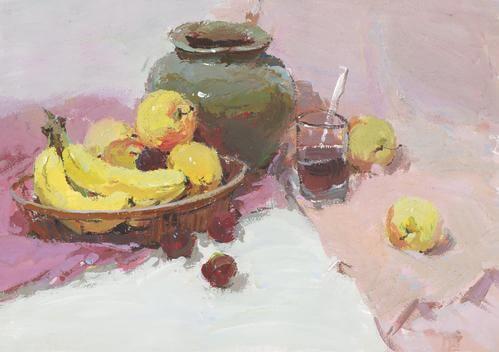 色彩静物中水果画得精彩了,画面自然就能拿高分!