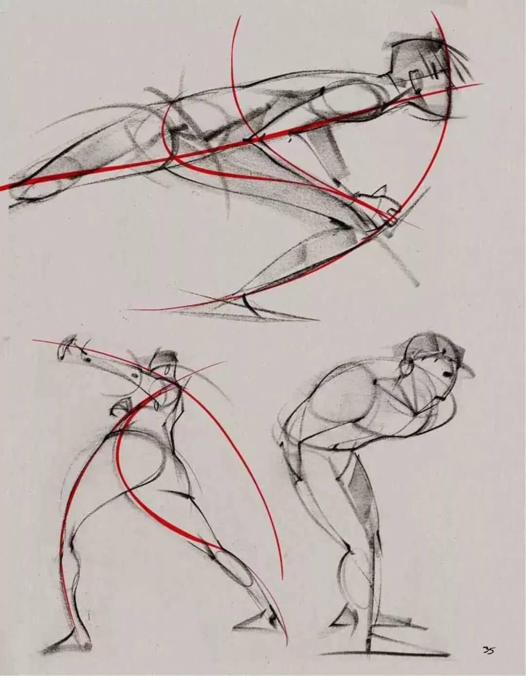 """美术校考高分技巧:人物速写,最关键的一点""""动态线""""!图三"""
