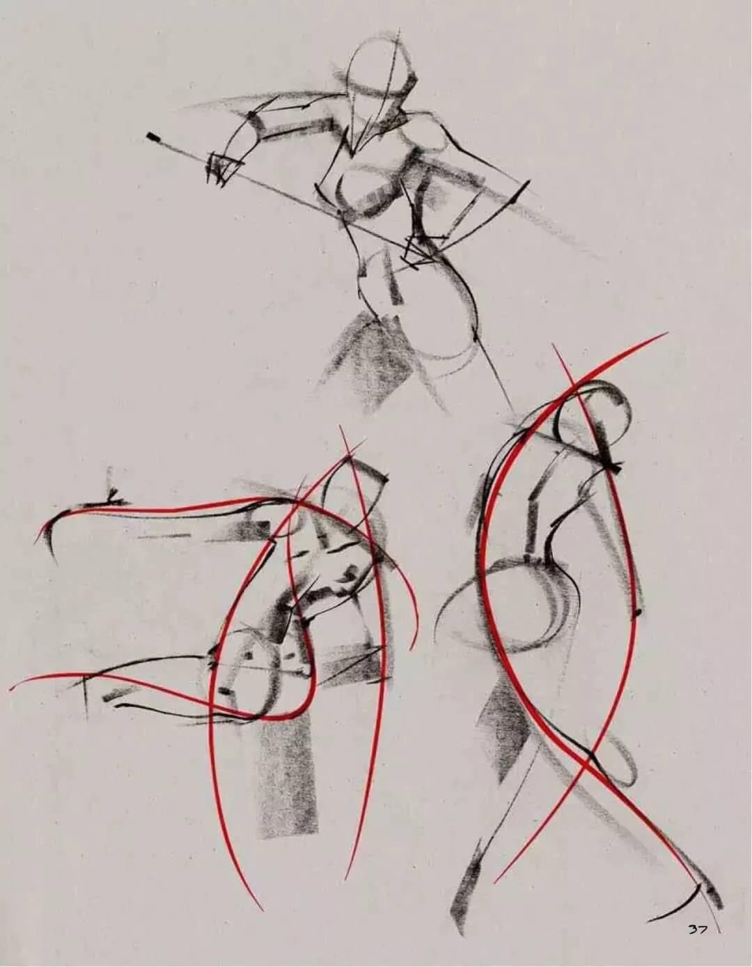 """美术校考高分技巧:人物速写,最关键的一点""""动态线""""!图五"""